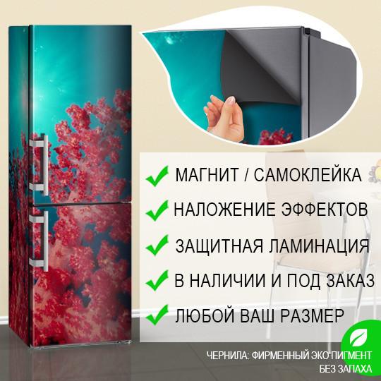 Магнитная наклейка на холодильник Красные кораллы в бирюзовой воде, виниловый магнит, 600*1800 мм, Лицевая