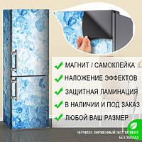 Магнитная наклейка на холодильник Голубой лед, кубики льда в воде, виниловый магнит, 600*1800 мм, Лицевая