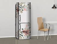 Магнитная наклейка на холодильник Цветочная Роспись Гибискус, цветы, виниловый магнит, 600*2000 мм, Лицевая + боковая
