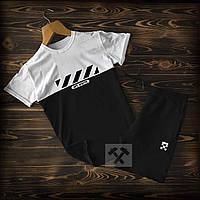 Летний спортивный костюм Off White черно-белого цвета (Офф Вайт) шорты и футболка