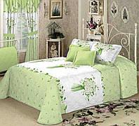 Півтораспальна постільна білизна Букет ромашок на зеленому