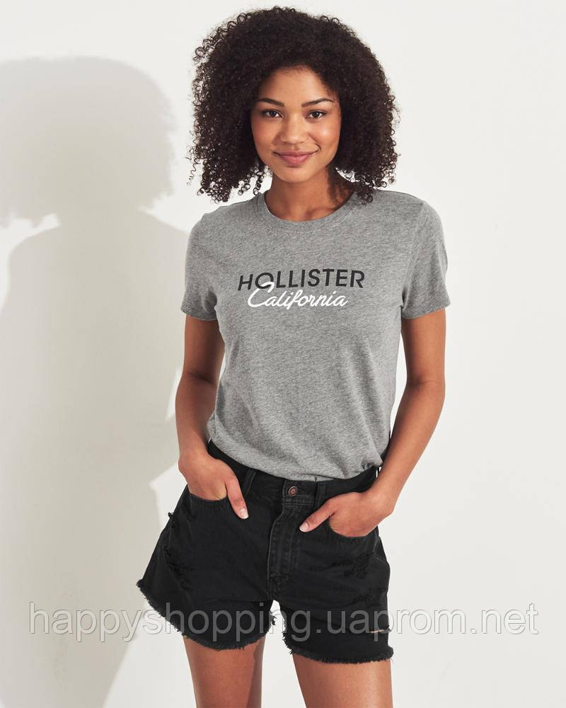 Женская стильная серая футболка с принтом Hollister