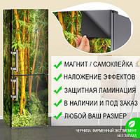 Магнитная наклейка на холодильник Сочный бамбук бамбуковый лес, виниловый магнит, 600*1800 мм, Лицевая