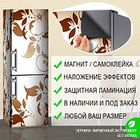 Магнитная наклейка на холодильник Растительный орнамент Листья, виниловый магнит, 600*1800 мм, Лицевая