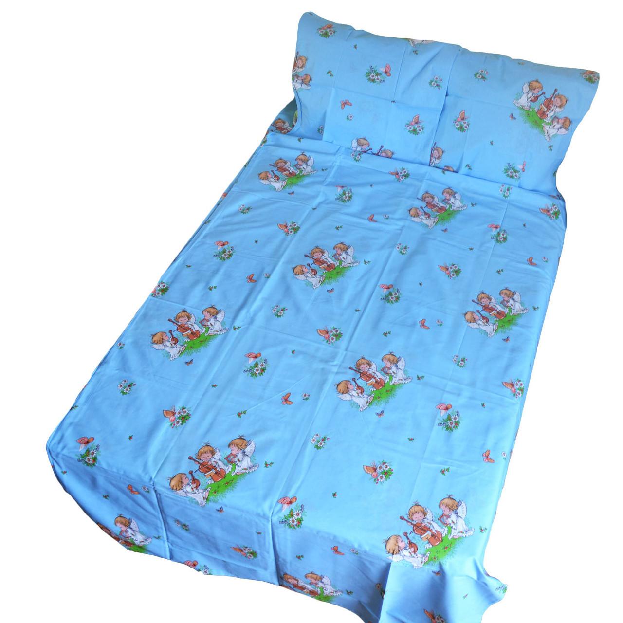 Дитяча постільна білизна в ліжечко - ангелочки на голубому