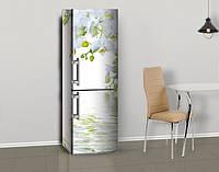 Магнитная наклейка на холодильник Белые крупные орхидеи цветы, виниловый магнит, 600*1800 мм, Лицевая