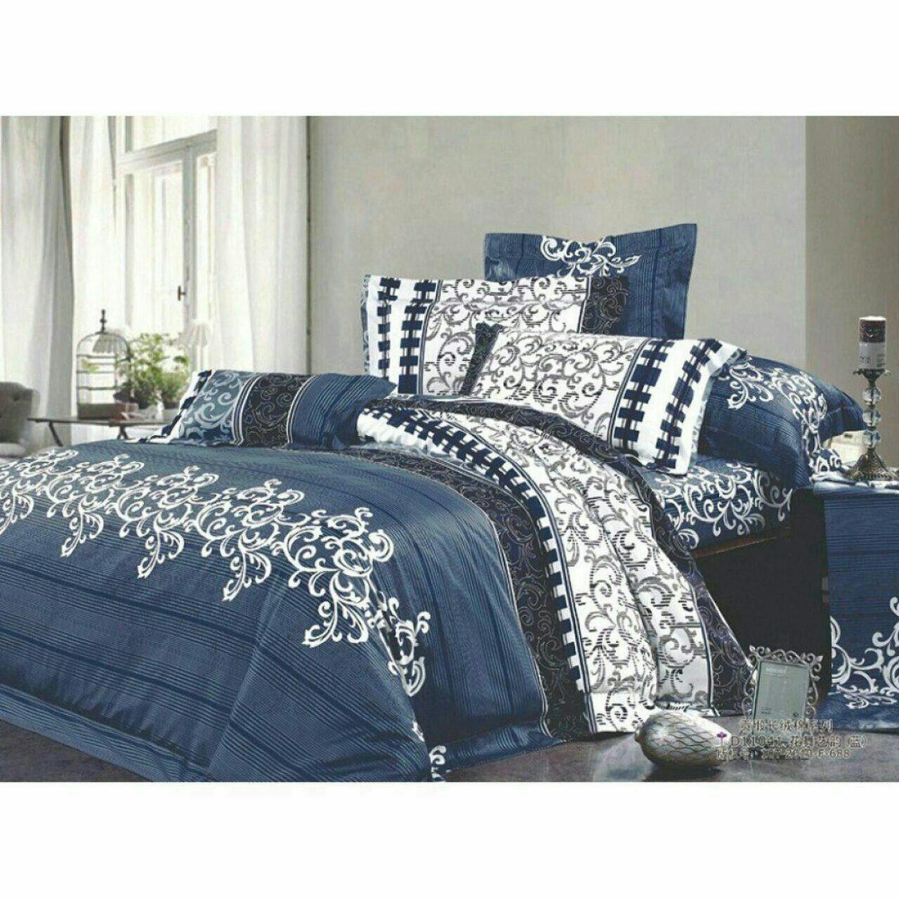 Двоспальний постільний комплект - Синій вензель джинс