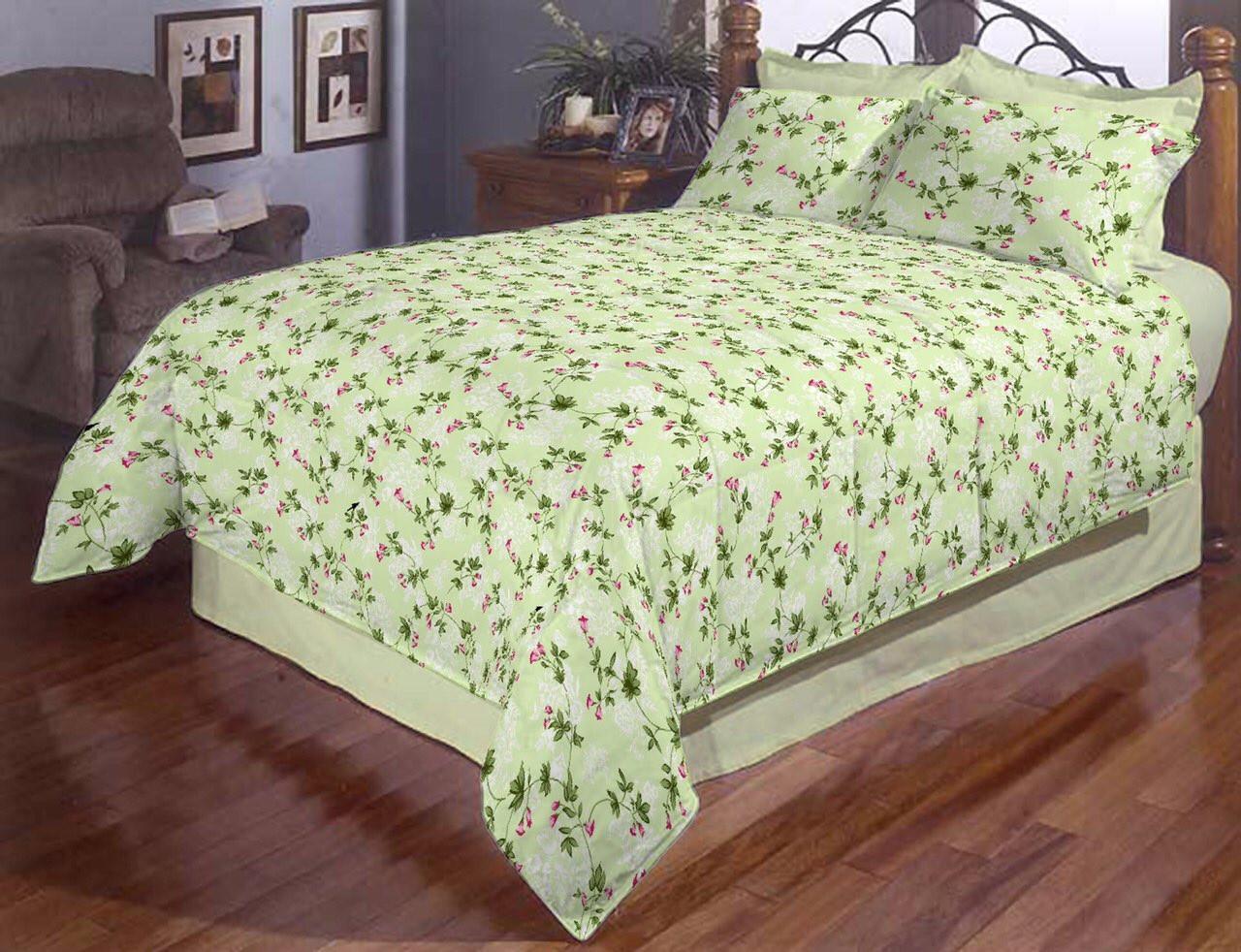 Двоспальний постільний комплект - Дзвіночки на зеленому