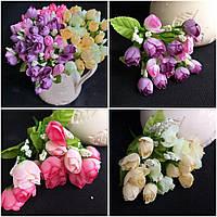 Розы в букетах - искусственные цветы, разные цвета, 5 веточек, выс. 24 см., 30/20 (цена за 1 шт. + 10 гр.)