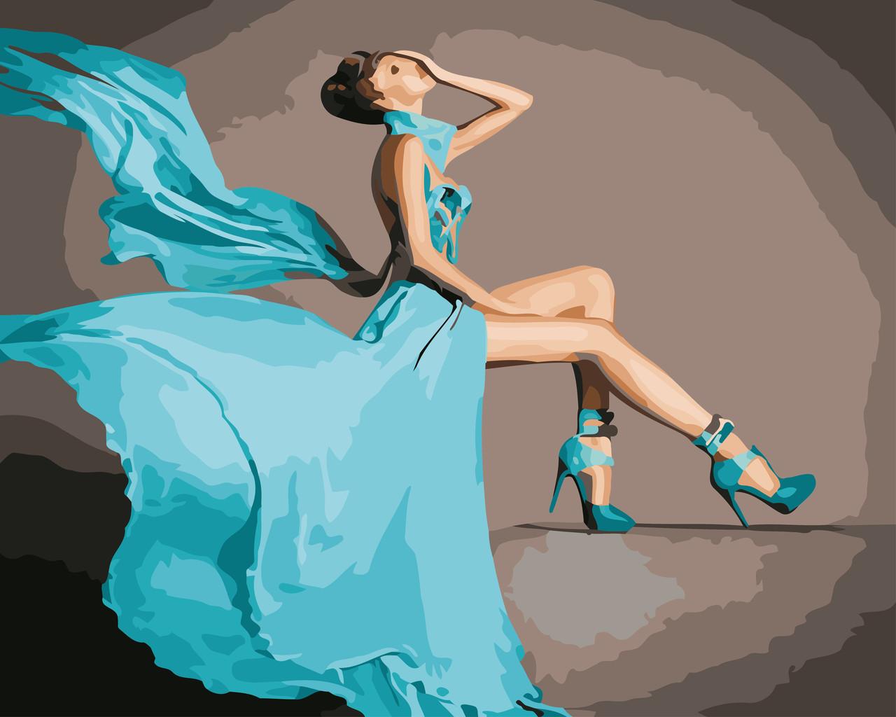 Картина за номерами Бірюзове плаття 40 х 50 см (AS0568)