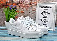 Женские белые кожаные кроссовки Nike air force 1 low, найк еир форс подростковые