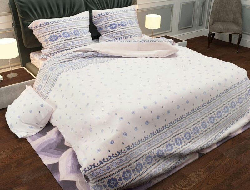 Півтораспальний постільний комплект - Вишиванка українська на голубому