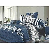Півтораспальний постільний комплект - Синій вензель джинс