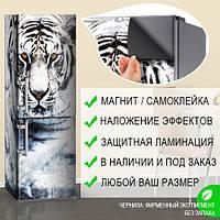 Магнитная наклейка на холодильник Белый Снежный тигр (кот), виниловый магнит, 600*1800 мм, Лицевая