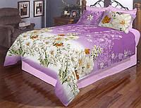 Тканина бязьGold - Білі квіти на фіолетовому