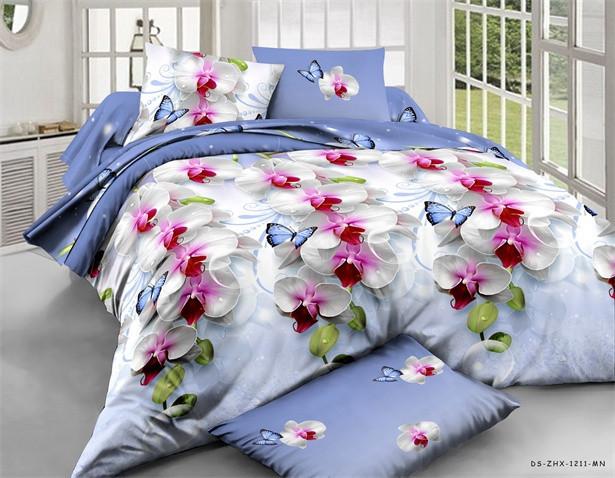 Двоспальна постільна білизна Ранфорс Орхідея на голубому