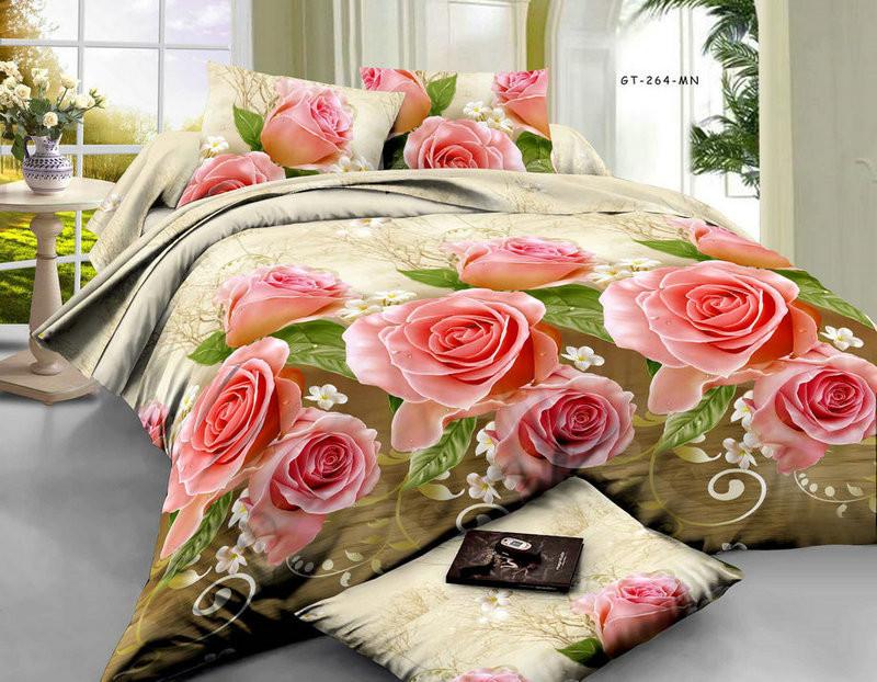 Двоспальна постільна білизна Ранфорс Троянди в подарунок