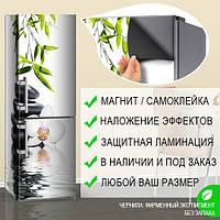 Магнитная наклейка на холодильник Черные камни, орхидеи и бамбук, виниловый магнит, 600*1800 мм, Лицевая