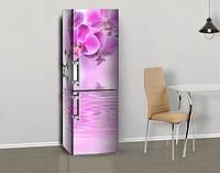 Магнитная наклейка на холодильник Розовые Орхидеи и вода, цветы, виниловый магнит, 600*1800 мм, Лицевая