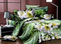 Двоспальна постільна білизна Ранфорс Лілія на зеленому