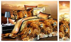 Двоспальна постільна білизна Ранфорс - Леви