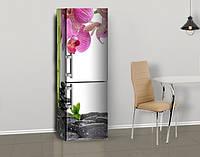 Магнитная наклейка на холодильник Розовые орхидеи и черные камни, виниловый магнит, 600*1800 мм, Лицевая