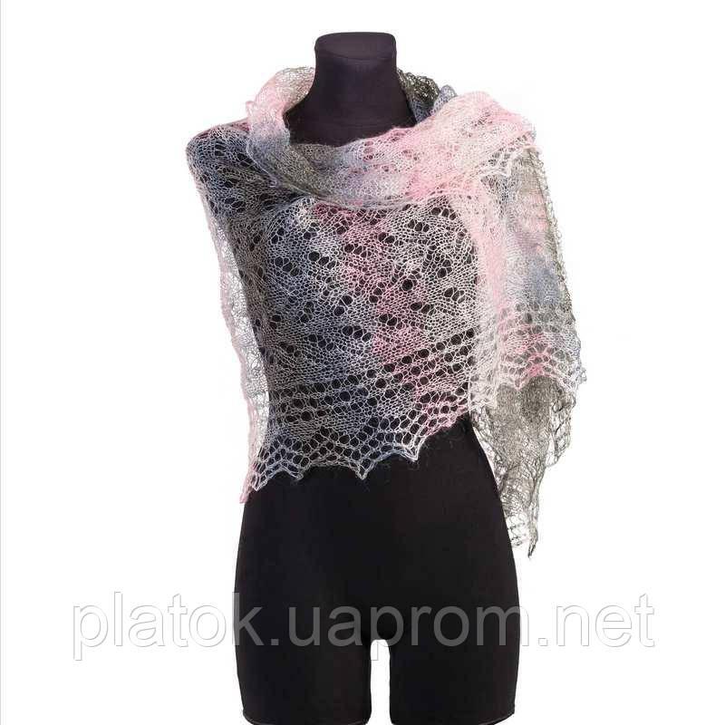 Палантин Колосок П-00054, біло-рожево-сірий , оренбурзький шарф (палантин) козячий пух