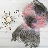 Палантин Колосок П-00054, біло-рожево-сірий , оренбурзький шарф (палантин) козячий пух, фото 3