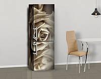 Магнитная наклейка на холодильник Черно-белая роза Винтаж, виниловый магнит, 600*1800 мм, Лицевая
