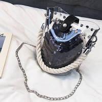 Женская прозрачная сумка ведро с канаткой и мешочком в пайетках черная, фото 1