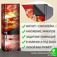 Магнитная наклейка на холодильник Картина грубыми мазками Парусник, виниловый магнит, 600*1800 мм, Лицевая