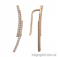 Золотые серьги Каффы с фианитами Сияющий Луч