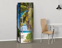 Магнитная наклейка на холодильник Пышная пальма и белый песок, виниловый магнит, 600*1800 мм, Лицевая