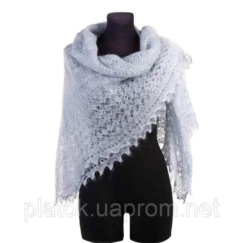 Шаль Ромбики ш-00441, цвет: светло-серый, оренбургский пуховый платок