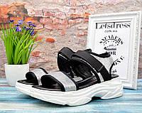 ✅ Босоножки на платформе женские с пайетками серебро сандали