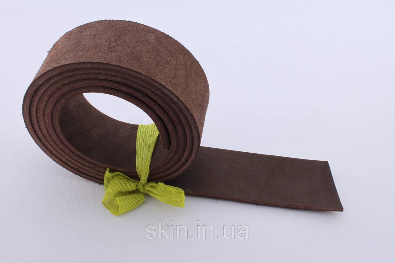 Полоса кожи хромового дубления коричневого цвета, толщина 3.5 мм, арт. СК 1661