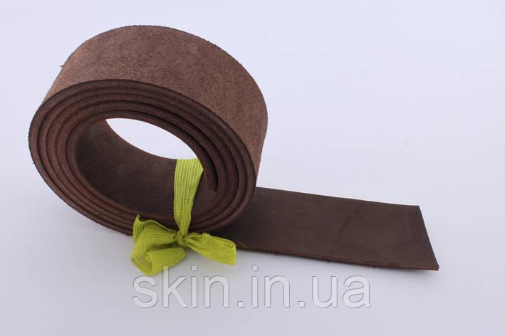 Полоса кожи хромового дубления коричневого цвета, толщина 3.5 мм, арт. СК 1661, фото 2