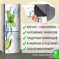Магнитная наклейка на холодильник (виниловый магнит) Мята и лайм в воде, 600*1800 мм, Лицевая