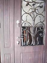 Двери входные двухстворчатые с фрамугой модель П3-68 vinorit-80 КОВКА РОЗЫ, фото 3