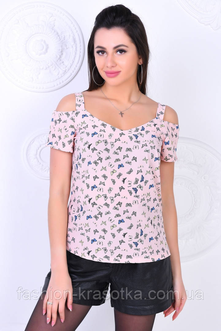 Модная молодежная блуза,ткань летний софт-принт,размеры:44,46,48,50,52.
