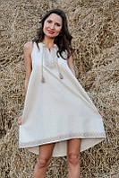 Лаконичное вышитое платье из натурального льна (П03-246)