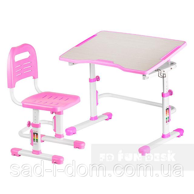 Детская парта и стул, парта-трансформер Vivo II розовый FUNDESK