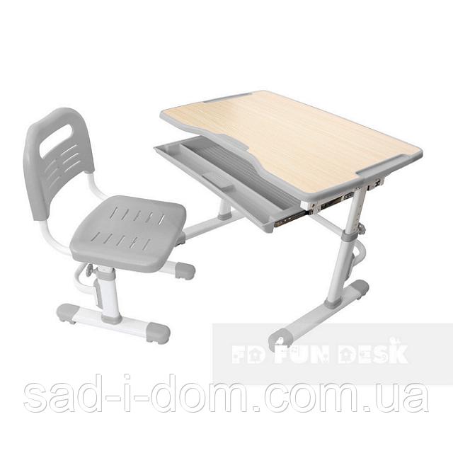 Детская парта и стул, парта-трансформер Vivo Grey FUNDESK