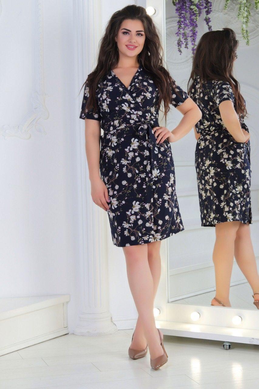 """Нежное женское платье на запах с цветочным принтом ткань """"Софт"""" 56 размер батал"""