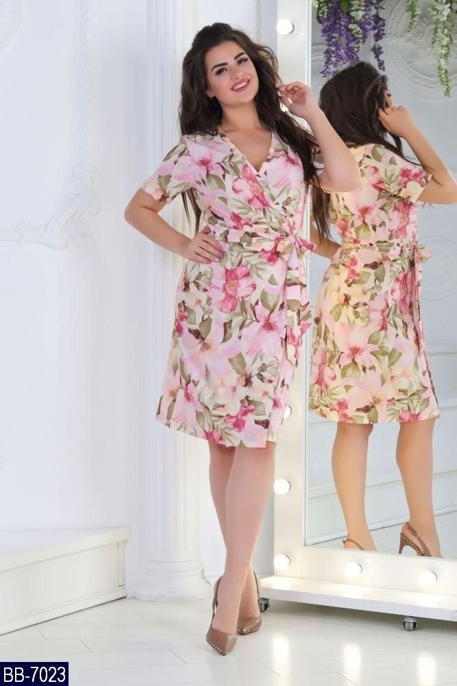 Стильное женское платье на запах ткань *Софт* 50, 52, 54, 56  размер батал