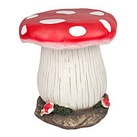 Садовая декорация - стульчик грибочек, 33,5*32,5*32,5 см, красный, белый, магнезия (820689)