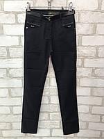 Школьныебрюкидетские для девочки от 6 до 12лет, тёмно синиес кожанымивставками на карманах, фото 1