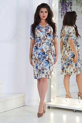 Стильное женское платье на запах ткань *Софт* 50, 52, 54, 56  размер батал, фото 2