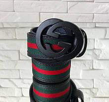 Пояс GUCCI R406 черно-зеленый