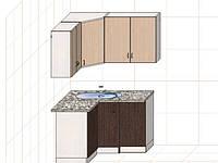"Угловая кухня ""Оптима"" длина 1,2х1,4 м - вариант №1"